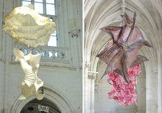exhibit at the church Saint-Riquier by artist: Peter Gentenaar. paper sculptures