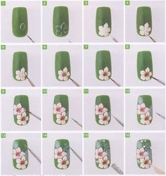 White Daisy, Orchid, flowers on Green Nails How-to, Tutorial, Free hand nail art