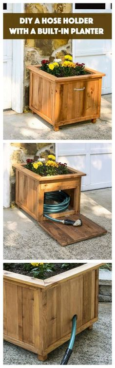 DIY Pallet Wood Hose Holder with Planter