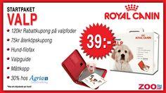 39 kr. Valppaket 120kr + 75kr Rabattkuponger, Hundpärm & Valperbjudande  Gäller 1st / Hundvalp. I valpstartpaketet ingår en värdecheck på 120kr att använda vid köp av 1,5-15kg Royal Canin valpfoder samt en återköpskupong med värde 75kr att utnyttja vid nästa köp hos Zoo.se samt en hund- filofax & 30% rabatt på försäkring hos Agria