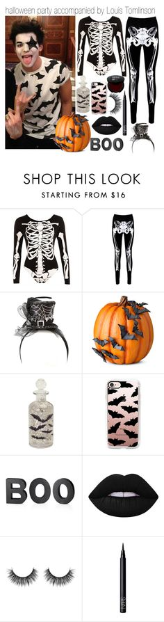 """halloween party accompanied by Louis Tomlinson"" by londero-danielle ❤ liked on Polyvore featuring WearAll, Boohoo, Improvements, Melrose International, Casetify, Crate and Barrel, Lime Crime and NARS Cosmetics"