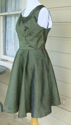 Green silk cocktail dress bust 40 swing dress rockabilly