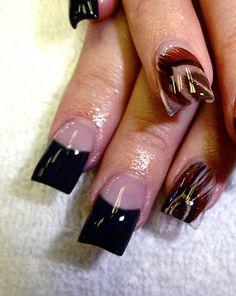 Feather acrylic nail art I would like them shorter though.