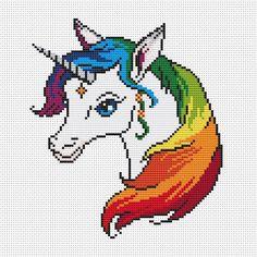 Resultado de imagen para free printable unicorn cross stitch patterns