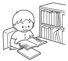 絵本を読む男の子のイラスト(ぬりえ)