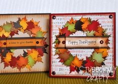 wreath with leaves leaf autumn fall - Stampin Up Thanksgiving Cards - Bing Images Fall Cards, Holiday Cards, Christmas Cards, Thanksgiving Wreaths, Thanksgiving Cards, Cricut Cards, Stampin Up Cards, Scrapbooking, Scrapbook Cards
