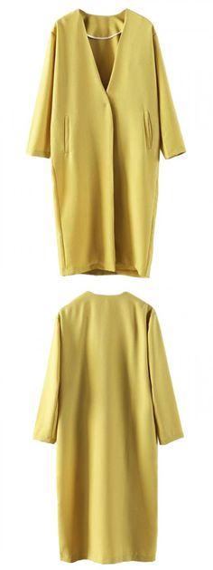 Yellow V Neck Longline Coat-CHOIES