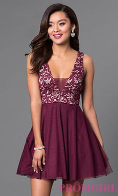 Short A-Line Lace V-Neck Homecoming Dress at PromGirl.com