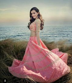 pretty pink party wear and festival wear lehenga choli Designer Bridal Lehenga, Bridal Lehenga Choli, Indian Wedding Wear, Indian Wear, Indian Weddings, Indian Attire, Bollywood Dress, Bollywood Fashion, Indian Dresses