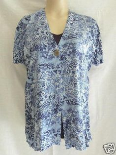 SAG Harbor Petite Women's S/S Short Sleeved Blouse Top L Large Blue NEW #SagHarbor #Blouse #Casual