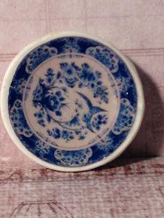 Dollhouse Miniature Blue & White China Plate, Scale One Inch. $5.00, via Etsy.