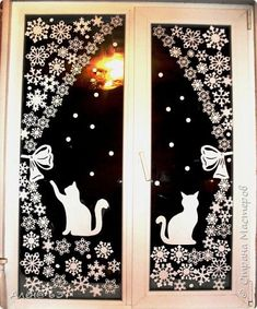 We decorate windows by new year. Ideas for inspiration. Christmas Window Decorations, Diy Christmas Ornaments, Christmas Time, Diy And Crafts, Paper Crafts, Navidad Diy, Christmas Templates, Window Art, Holidays And Events