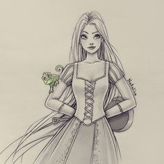 I draw sketches of one Disney or movie/TV character all week, then I take a break for weeks, and then I draw another character from Monday to Sunday. Film Disney, Disney Rapunzel, Arte Disney, Disney Art, Tangled Rapunzel, Disney Princess Drawings, Disney Sketches, Disney Drawings, Cartoon Drawings