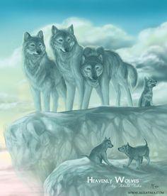Heavenly wolves by akelataka.deviantart.com on @DeviantArt