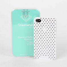 Diamond Perforated I Phone Case, White