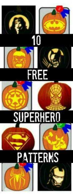 10 Free Superhero Pumpkin Carving Patterns for Comic Book Fans Pumpkin Carving Stencils Free, Disney Pumpkin Carving, Pumpkin Carving Party, Pumpkin Carving Patterns, Carving Pumpkins, Superhero Halloween, Halloween Kids, Halloween Pumpkins, Happy Halloween