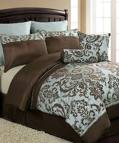 Look what I found on #zulily! Blue & Brown Daniella Comforter Set by Victoria Classics #zulilyfinds