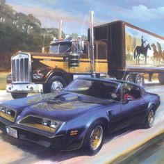 Smokey and the Bandit – Ian Guy - Motoring Artist Old Movies, Great Movies, Classic Country Artists, General Lee Car, Smokey And The Bandit, Burt Reynolds, Truck Art, Plymouth Fury, Cool Trucks
