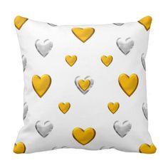 #Silver and #Gold #Hearts Pillows...#pillows #homedecor #throwpillows #interiordecorating #interiordecoration #interiordesign #livingroom #bedroom #den #RoseSantuciSofranko #Artists4God  #Artist4God   #home #accessories #decor #lumbarpillows #custom #customizable #Zazzle
