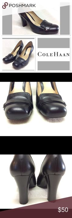 "Cole Haan black leather work pumps size 7B Classic and classy, these black leather pumps have a sturdy 3.25"" heel and squared toe. They are very gently used, but do not show much wear at all. See photos. Cole Haan Shoes Heels"