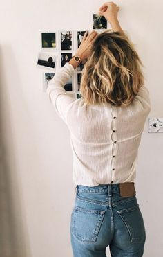 Hair inspirations lob hairstyle for medium hair Hair inspirations lob ha… Hair inspiration – Hair Models-Hair Styles Blouse En Jean, Denim Blouse, Denim Ootd, Looks Style, Looks Cool, Style Me, Style Hair, How To Style Lob, 40s Style