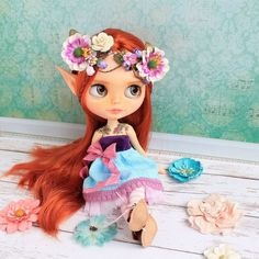"""RESERVED Elf """"Filaurel"""" custom Blythe doll custom with tattoo OOAK Blythe factory blythe collectible dolls red hair Blythe collection Elf, Alice, Sleepy Eyes, Watercolor Pencils, Other Outfits, Custom Dolls, Freckles, Blythe Dolls, Flower Crown"""