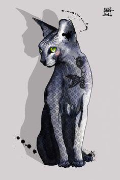 Blue Sphynx cat by sara ligari