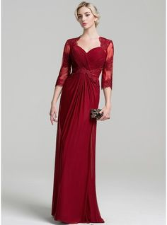 A-Line/Princess Sweetheart Floor-Length Jersey Mother of the Bride Dress With Appliques Lace Plus Size Evening Gown, Evening Dresses With Sleeves, Evening Gowns, Bride Groom Dress, Bride Dresses, Mother Of The Bride Gown, Stunning Dresses, Wedding Party Dresses, Special Occasion Dresses