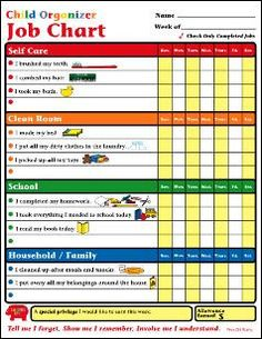 Our Child Organizer Job Chart comes with 30 sheets, measuring the standard x It will help your child learn responsibility, planning and self-discipline. Use coordinating Shapes Etc. Parenting Advice, Kids And Parenting, Parenting Styles, Foster Parenting, Parenting Classes, Parenting Quotes, Teaching Kids, Kids Learning, Fee Du Logis