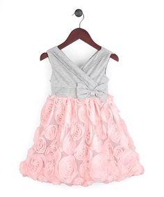 Look what I found on #zulily! Pink & Gray Rosette Surplice Dress - Infant, Toddler & Girls by Joe-Ella #zulilyfinds
