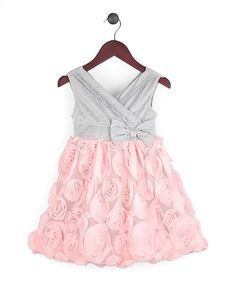 Look what I found on #zulily! Pink & Gray Rosette Surplice Dress - Infant, Toddler & Girls by Joe-Ella #zulilyfinds