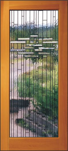 Bauhaus Door  Clear textured waterglasss cascades thru 1 inch clear beveled glass.  other nice stuff on site