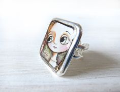 LIGHT  Big Adjustable Square Ring 1 inch. Art by margheritaarrighi, €15.00