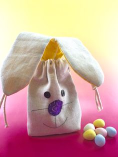 3 favor bags set easter egg appliqu reusable by spanishvelvet con lined party favor bag easter bunny with long ears reusable drawstring linen look muslin for gifts treats jewelery and more negle Choice Image