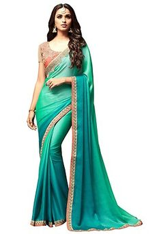 Ombre Chiffon Satin Saree in Shaded Green and Teal Blue Satin Saree, Chiffon Saree, Georgette Sarees, Latest Indian Saree, Indian Sarees Online, Indian Outfits, Indian Clothes, Ethnic Looks, Saree Trends