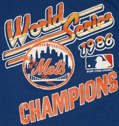 Vintage 1986 NY Mets World Series t-shirt.I still have mine. New York Mets Baseball, Sports Baseball, Baseball Players, Sports Logo, Football, Mlb Team Logos, Mlb Teams, 1986 World Series, My Mets