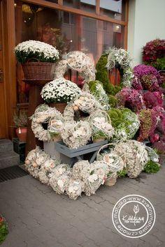Kolekce | Dušičky | Květiny Petr Matuška Brno - dekorace, floristika, řezané květiny, svatební kytice Bussines Ideas, Grave Decorations, Flower Installation, Hydrangeas, Mesh Wreaths, Funeral, Flower Designs, Flower Power, Flower Arrangements