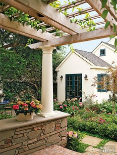 Pergola with Natural Stone Base