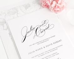 Vintage Glam Wedding Invitation  Calligraphy  by ShineInvitations