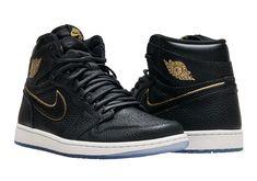 Newest Jordans, Jordans For Men, Air Jordans, Jordan 1 Black, Jordan 1 Retro High, Black And Gold Jordans, Snicker Shoes, Kicks Shoes, Top Shoes