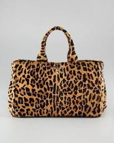 Prada Bag - Love this - wear all black or beige and have a statement piece.Cavallino Tote Bag - Neiman Marcus www. Bag Prada, Prada Handbags, Tote Handbags, Purses And Handbags, Unique Handbags, Motif Leopard, Leopard Bag, Leopard Prints, Leopard Handbag