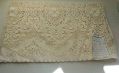 Antique c1930s Arts & Crafts Curtain cotton lace panel 105 x36  deadstock.sample