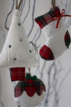Hanging Christmas Decorations  Set of 3 by peppermintfizz on Etsy, £12.16