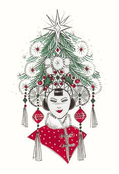 Chinese christmas tree woman. A copyrighted greetings card image by British Illustrator Hilary Kidd