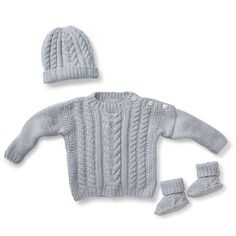Heart Cable Layette  Hand knit cashmere hat, sweater and slippers.  http://bit.ly/ZnzaG7