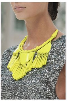 fluoro yellow, statement necklace to wear with my newly purchased knitted jumper