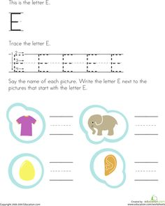 Trace and Write the Letter E