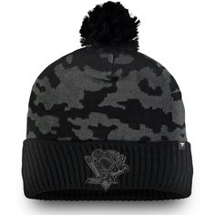 e159784af82442 Men's Pittsburgh Penguins Fanatics Branded Black Mute Camo Cuffed Knit Hat  With Pom, Your