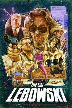Best Movie Posters, Cinema Posters, Movie Poster Art, Art Posters, Poster Poster, O Grande Lebowski, El Gran Lebowski, Film Movie, See Movie