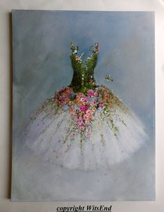 Tutu de rosas pintura reservada para Hilda originales por 4WitsEnd